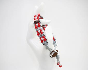 Scarlet and Gray College Football Team Leather Wrap Bracelet, with Handmade Clay Buckeye Nuts. Ohio. Handmade Jewelry.