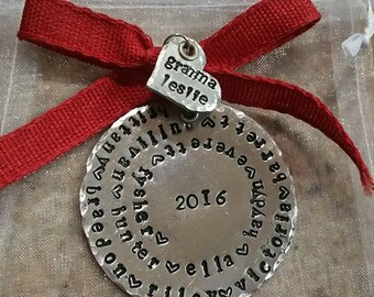 Personalized Hand Stamped Grandparent/Parent Ornament