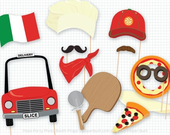 Pizza Party Photo Booth Props, Photobooth Props, Pizza Pie, Chef Hat, Pizza Birthday, Baking Party, Pizza Delivery, Fun Photobooth Props