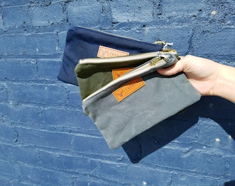 Olive- Waxed Canvas Zippered Pouch