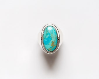 Spinning Two-Sided Turquoise and Lapis Sterling Silver Ring