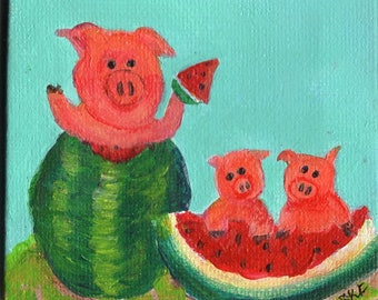 Pigs eating watermelon mini painting, acrylics painting, miniature canvas art with Easel, 3 x 3, whimsical pig art