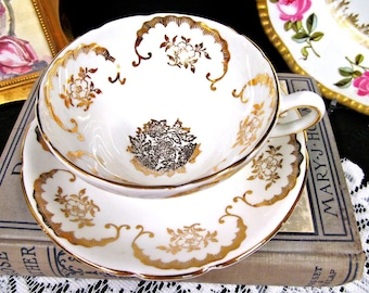 Stanley Tea Cup and Saucer Gold Gilt Floral Teacup Wide Mouth Cup & Saucer