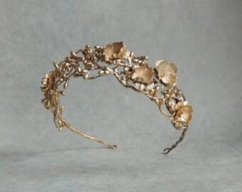 Gold Floral Hair Wreath, Gold Vine Tiara, Wedding Hair Accessories, Bridal Hair Wreath Woodland Crown, Gold Wedding Hair Wreath Headband