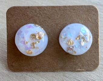 White Opal Earrings Studs//Gold Flake Opal Earring Studs//Earring Studs//12 MM//Opal Jewelry//Faux Opal Earrings//Wedding Gift//Bridesmaids