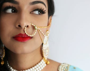 Faux Nose Ring - Pearl Nath with Kundan and Two Strands - Indian Wedding Jewelry, Indian Bridal Nose Ring, Indian Jewelry, Gold Nose Ring