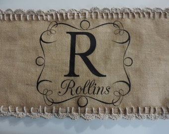 Burlap table runner with crochet border and monogram, crochet lace and burlap wedding gift, personalized tablecloth, rustic wedding decor