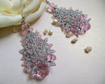Wedding jewelry, lace earrings, silver pink tatted earrings, unic bridal earrings, delicate wedding earrings,gift for her,