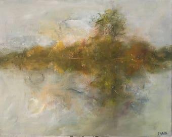 Oil Painting, Original Art, Abstract Landscape, Fine Art, Wall Decor, Misty Autumn Morning