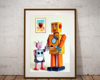 Robot Art Print, Robot Poster, Robot Love Art, Robot Toy Art Print, Robot Toy Poster, Robot Husband Wife, Tin Toy Robot Art, Robot Print,
