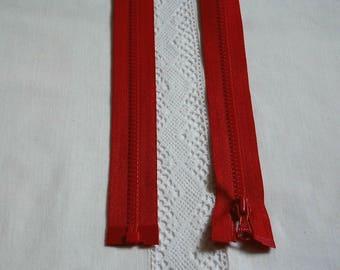 Fermeture éclair moulée séparable 100 cm ou 1 m rouge vif