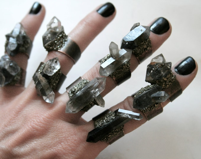 Tibetan Smoky Quartz Crystal Cluster Ring - Choose Your Style