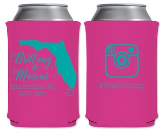 Neoprene Collapsible Beer Can Cooler Beverage Insulator Personalized Wedding Favor | Custom State Map | Beer/Can Holder | READ DESCRIPTION