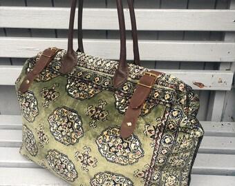 Handmade Weekend/Overnight Bokhara style Carpet Bag/Mary Poppins Bag in Green Medallion Design