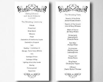 folded wedding program template simple wedding programs