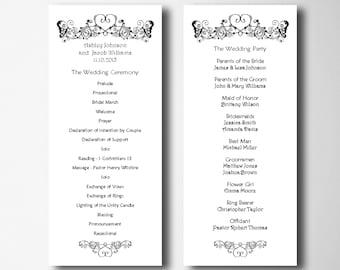 Elegant wedding program template Simple wedding program card Romantic wedding programs printable Instant download wedding program diy T17