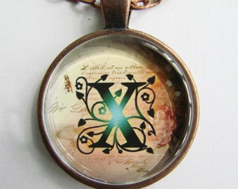 """Initial """"X"""" Necklace -- Green Vine pattern Personalized Letter X Necklace, Wedding Necklace, for Bridesmaid, Hen Night, Friendship token"""