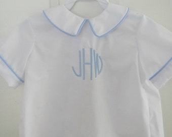 Peter Pan Collar Boys Shirt Monogram- Sizes 3 months-4T Ready to Ship Easter