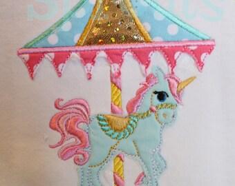 Unicorn Carousel Machine Applique - Instant Download