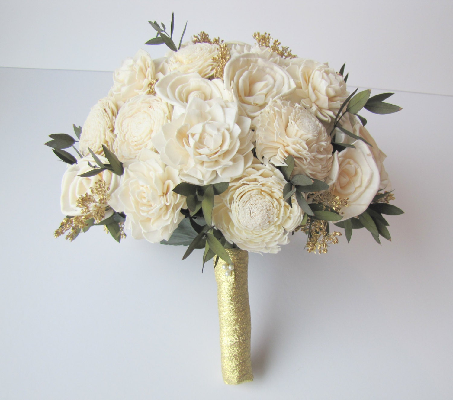 Ivory and Gold Bridal Bouquet - Bride\'s Flowers - Bridal Bouquet ...