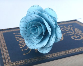 Light Blue Book Page Flowers, Blue Wedding Flowers, Literary Gift, Book Wedding Theme