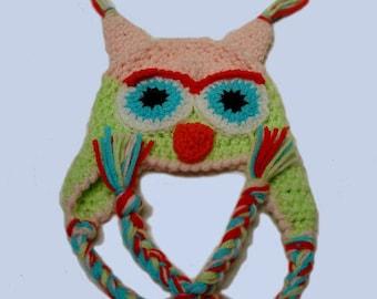 Baby hat, Baby girl, owl hat for baby, critter hat, Newborn hat, Halloween baby hat, Fairytale gift,  crochet photo prop,  baby girl hat