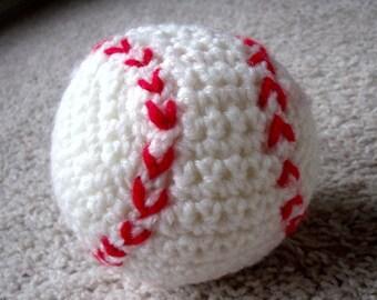 New Soft Handmade Crocheted Stuffed White & Red Baseball Baby Toy
