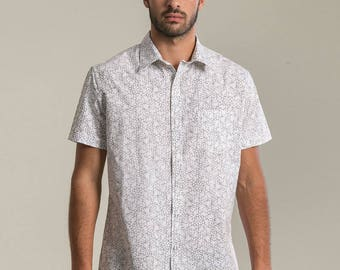 Mens White Button Up Shirt Psychedelic LSD-25 Molecule, All Over Print Short Sleeved Button Down Shirt Mens