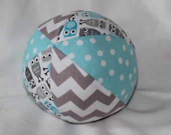 New!  Small Blue and Gray Mini Owls Fabric Boutique Ball Rattle Toy