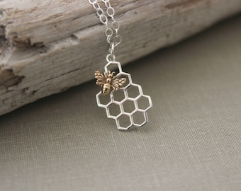 Sterling Silver Honeycomb Necklace with bronze gold bee - insect jewelry -gift for her - Spring jewelry - honey necklace