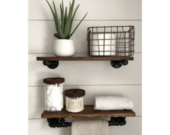 Industrial Rustic Modern Towel Rack, Holder with Wood Shelf, Kitchen Towel Bar, Rustic Wall Decor, Bathroom, Kitchen, Pipe Shelf, Gift