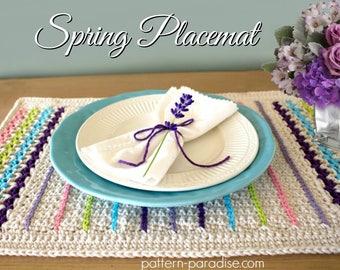 Crochet Pattern Spring Placemat Set  PDF 17-304
