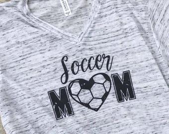 Distressed SOCCER MOM V-neck tshirt, Soccer Mom shirt