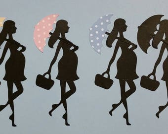 Pregnant Expectant Lady Silhoutte With Umbrella Die Cuts Set of 12