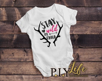 Baby | Stay Wild my Child Baby Bodysuit DTG Printing on Demand