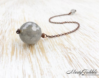 Gray Quartz Ball Crystal Pendulum, Dowsing Pendulum, Reiki Healing, Wiccan Tool, Divination, Intuition, Gemstone Pendulum Dowsing Stone (71)