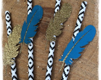 Boho , teal and gold feather paper party straws