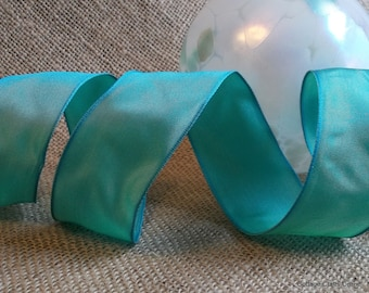 "Wired Ribbon, 1 1/2"" wide, Turquoise Blue Green - TEN YARD ROLL - Offray ""Charisma Ocean"" Craft Decor Wire Edged Ribbon"
