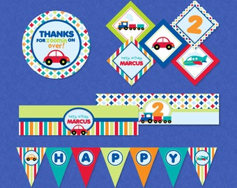 Adorable Transportation Birthday Mini Printable Party Pack - Trucks Planes Cars