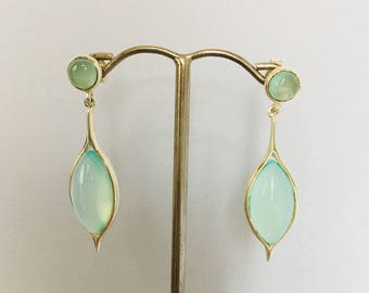 Earrings in silver and green chalcedony