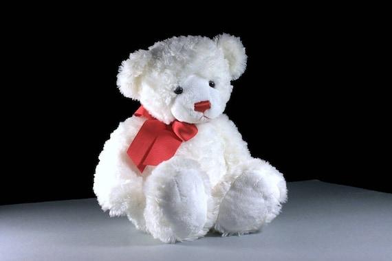 Stuffed Animal, Teddy Bear, Gund, White, Fluffy, Soft, Sitting Bear
