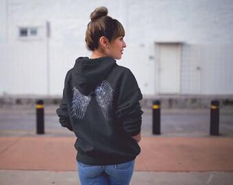 Angel Wings Hoodie Sweater / Womens Sweater / Hoodie / Fashion Sweater / Trendy Sweaters / Trendy Hoodies / Rhinestones / Bling Sweater