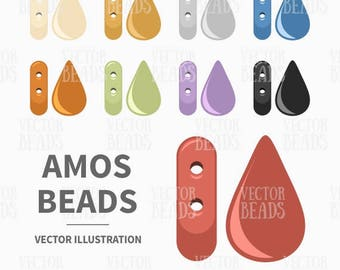 Vector Clipart Set of Amos Beads For Creating Beading Patterns - Instant Download