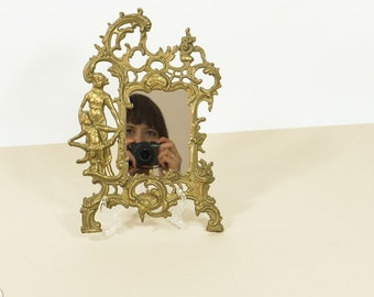 Vintage mirror with brass frame, Art Nouveau style