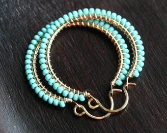 Aqua beaded hoops, Czech glass seed bead, turquoise, blue-green, wire wrapped, 14k gold filled, Mimi Michele Jewelry
