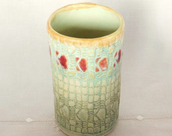 Handbuilt Stoneware Pottery Tumbler, Pint Glass, 16 oz, Light Green, Red Accents, Rugged Texture, Hand Built, Wabi Sabi
