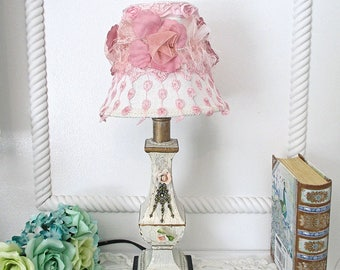 Lampshade, Small Lamp shade, Dusty Pink Roses, French Linen Lampshade, Embellished lampshade, Chandelier Shade