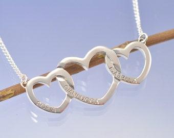 Personalised Triple Heart Pendant