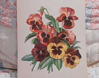 Spring PANSY BOUQUET Litho Print, Rich Yellow Brown Red Pink Pansies Green Leaves, Vintage 1950s Signed Botanical Art, Barkcloth Era 8 x 10