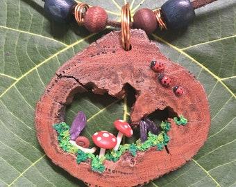 Wooden scene pendant
